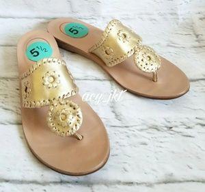 New Jack Rogers Metallic Gold Flip Flop Sandals